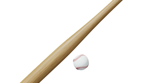 Baseball bat and ball Low-poly 3D model