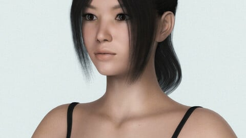 Young Japanese Girl 3D Character