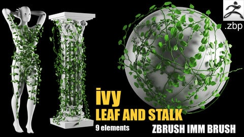 ivy and leaf zbrush imm brush