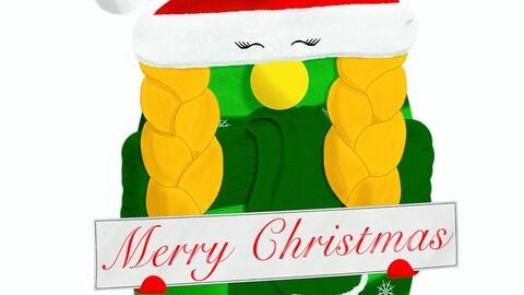 Female Christmas gnome wishing you a Merry Christmas