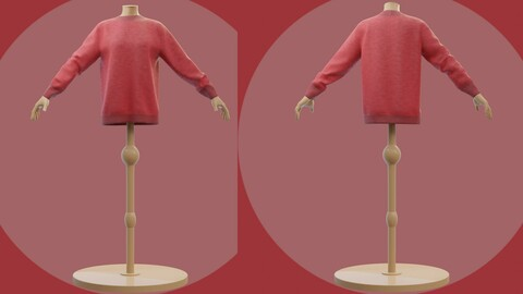 3D Red Christmas sweater - Female mannequin and cardigan