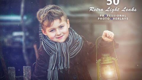 50 Retro Light Leaks Photo Overlays