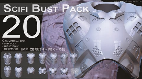 IMM 20 Scifi Busts KitBash with Uvs - Plus LP+HP) .obj/.fbx