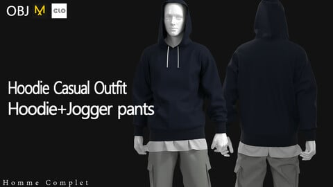 Men's Navy Hoodie Casual Outfit
