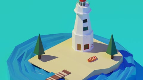 Isometric Low Poly Lighthouse by Zoe Tamago
