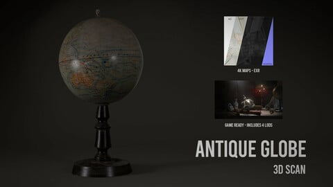 Antique Globe - 3D Scan with Textures & LODS