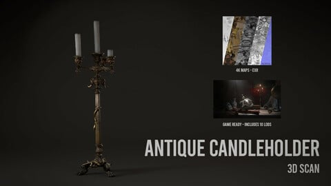 Antique Candleholder - 3D Scan with Textures & LODS