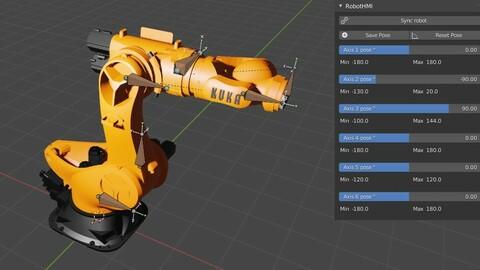 RobotHMI industrial Robots in Blender