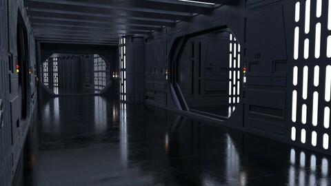 Dark Space Corridors - Sci-Fi Interior Environment 90 Piece Set
