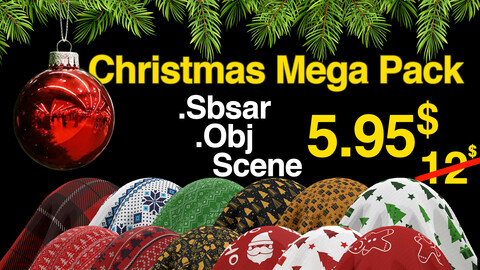Christmas Mega Pack / Fabric Sbsar 24 /Pine Model / Marmoset Scene / Environment / All In One