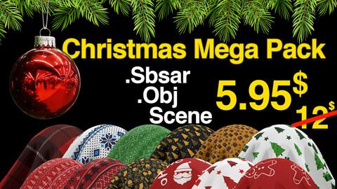 Christmas Mega Pack / Fabric Sbsar 24 /Pine Model / Marmoset Scene / Environment / All In One