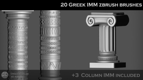 🏺 🇬🇷 20 GREEK IMM ZBRUSH Brushes { + 3 Columns IMMs} 🏺