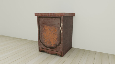 Lacquered wood rigged furniture nightstand with pattern Pbr