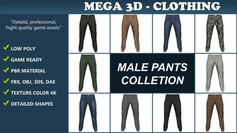 Male pants collection 201209 Low-poly 3D model
