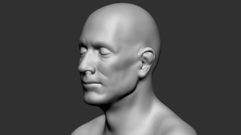 Human 50yo Male Face Basemesh