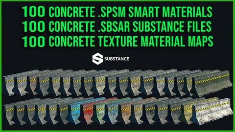 100 Concrete Urban Street Floor Wall Architecture .Spsm Smart Materials + 100 Concrete .Sbsar Files + 100 Concrete Texture Maps
