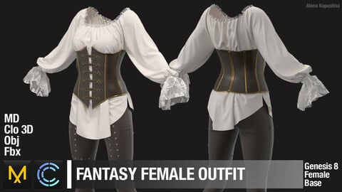Fantasy Female Outfit. Marvelous Designer Clo3d project + OBJ + Fbx