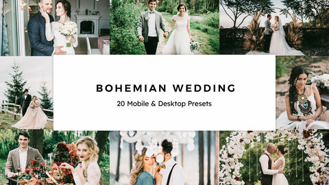 20 Bohemian Wedding LUTs and Lightroom Presets