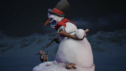 Evil Snowman Table Top Christmas Ornament