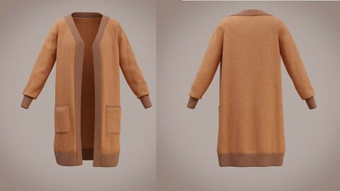 3D Knit Cardigan Sweater