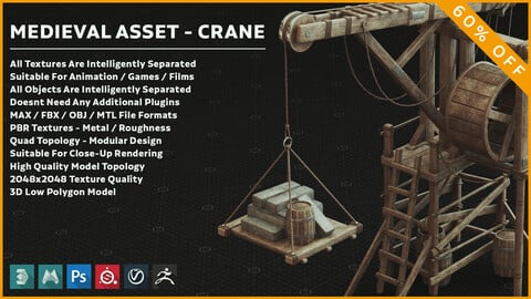 Medieval Wooden Crane 3D Model / PBR Textures