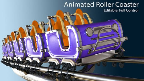 3d Animated Roller Coaster Train 3D model