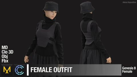 Female Outfit. Marvelous Designer Clo 3D project + obj + fbx