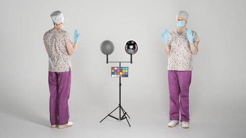 Male doctor with surgical gloves and medical mask 241