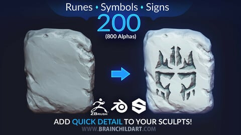VOL. 3 - 200 Runes, Signs & Symbols (800 Alpha Textures) Zbrush, Blender, Substance...