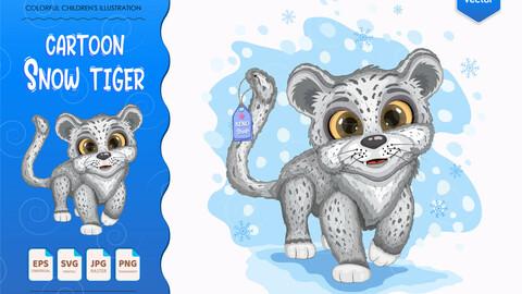Cartoon Snow Tiger