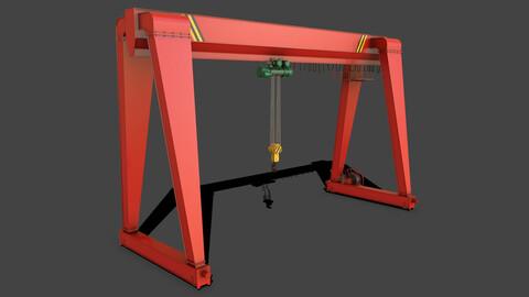 PBR Single Girder Gantry Crane V2 - Red