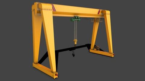 PBR Single Girder Gantry Crane V2 - Yellow
