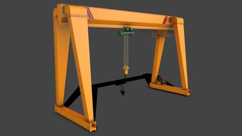 PBR Single Girder Gantry Crane V2 - Yellow Dark