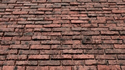 Red Grunge Brick Wall-PBR-01