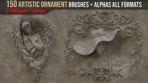 150 Artistic Ornament Brushes + Alphas All Formats + 2 Amazing VDM Brushes
