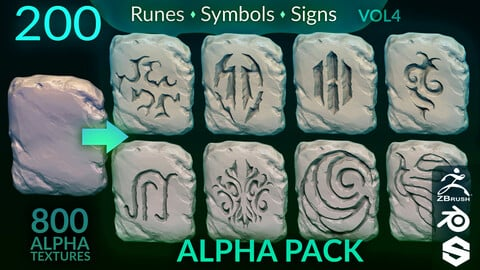VOL. 4 - 200 Runes, Signs & Symbols (800 Alpha Textures) Zbrush, Blender, Substance...