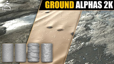 20 Ground & Terrain Alphas Vol.2 (ZBrush, Substance)