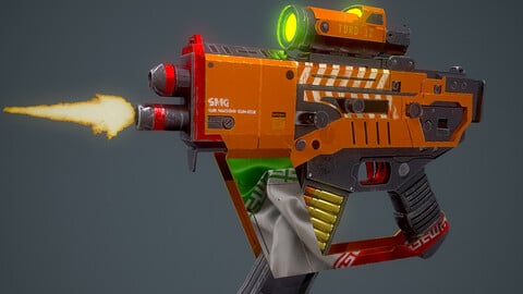Animated Game-Ready Sub-Machine Gun