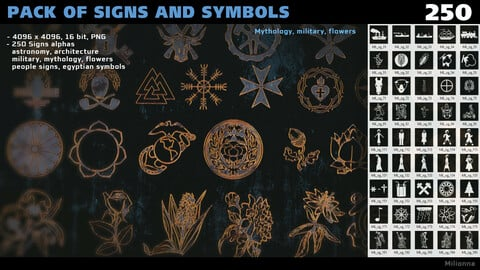 Pack of 250 alphas - Signs and Symbols (PNG)