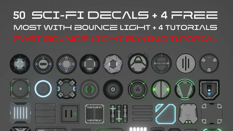 50 Sci-fi decals pack, with BOUNCE light. DecalMachine 2.1 ready + Tutorials