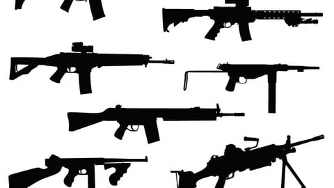 Vector firearms in silhouette