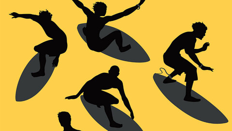 Various surfers in vector silhouettes