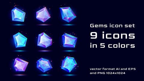 Gems icon Vector Set
