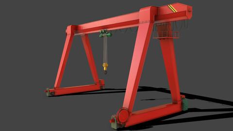 PBR Single Girder Gantry Crane V1 - RED