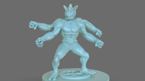 Pokemon Machamp Figurine and ZBrush Timelapse 3D print model