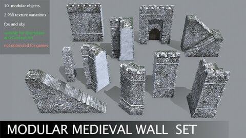 Modular Medieval Wall Set for Concept Art and Illustration