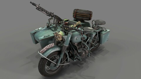 German motorcycle with sidecar WW2 Shwarz Grau 3d model