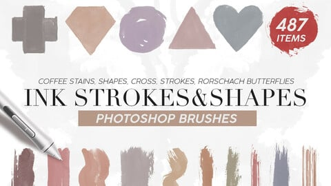 487 Ink Shapes & Strokes Photoshop Brushes + PNG's