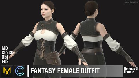 Fantasy female outfit / Marvelous Designer / Clo 3D project + obj + fbx