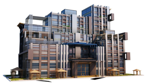 Commercial and Business Building - 3Ds Files - 2Ds Plans